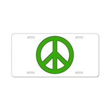 Green Peace Sign Aluminum License Plate