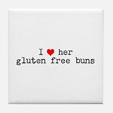 I love her gluten free buns Tile Coaster