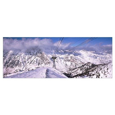 Clouds over snow covered mountain range, Snowbird Canvas Art