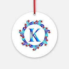 Blue Letter K Monogram Ornament (Round)