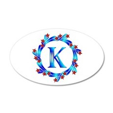 Blue Letter K Monogram Wall Decal