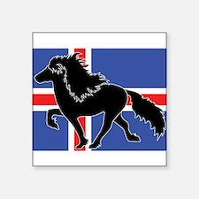 Black Icelandic horse with flag square Sticker