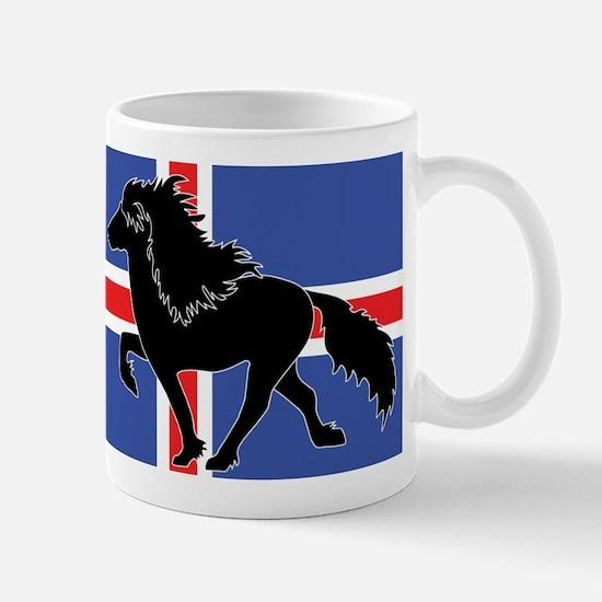 Black Icelandic horse with Iceland flag Mug