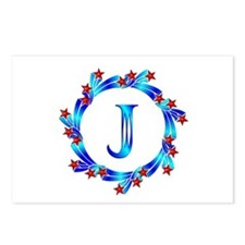 Blue Letter J Monogram Postcards (Package of 8)