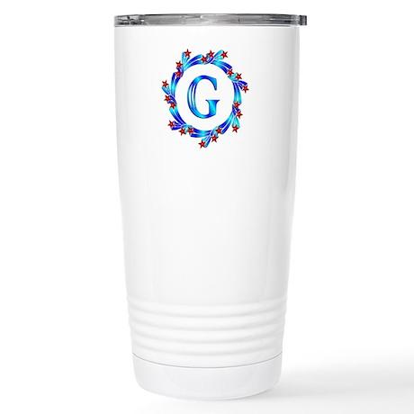 Blue Letter G Monogram Stainless Steel Travel Mug