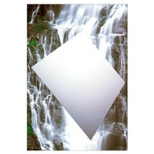 Floating White Blank Board In Front Of Waterfall