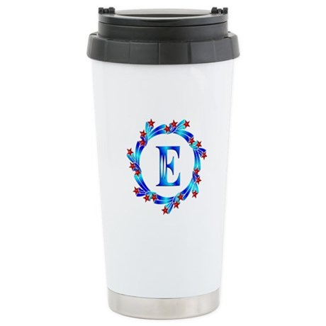 Blue Letter E Monogram Stainless Steel Travel Mug
