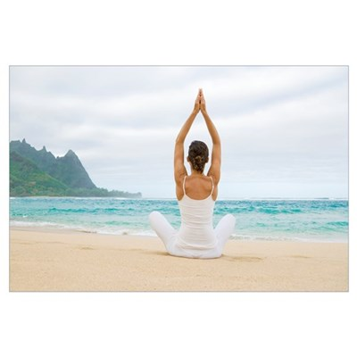 Hawaii, Kauai, Haena Beach, Woman Meditating On Sa Framed Print