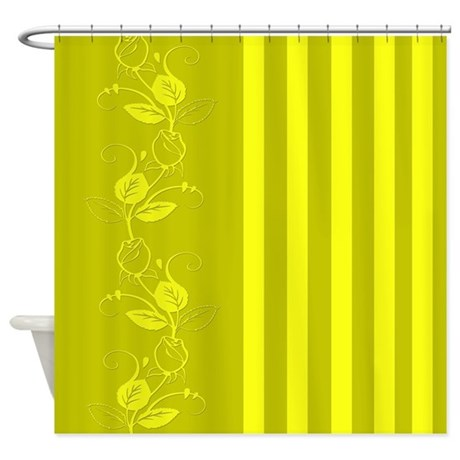 Yellow and Green Flowers/Stripes Shower Curtain by cheriverymery