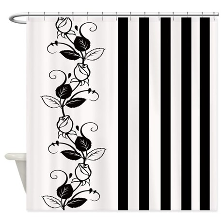 Black And White Flowers Stripes Shower Curtain By Cheriverymery