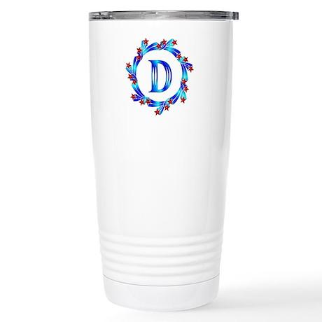 Blue Letter D Monogram Stainless Steel Travel Mug