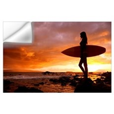 Hawaii, Maui, Makena, Silhouette Of Surfer Girl At Wall Decal