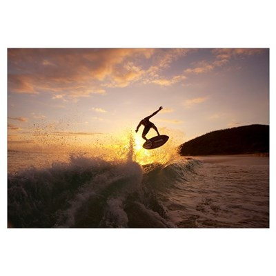 Hawaii, Maui, Makena, Skimboarder Gets Big Air Off Canvas Art