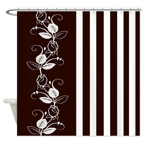 Brown And White Flowers Stripes Shower Curtain By Cheriverymery