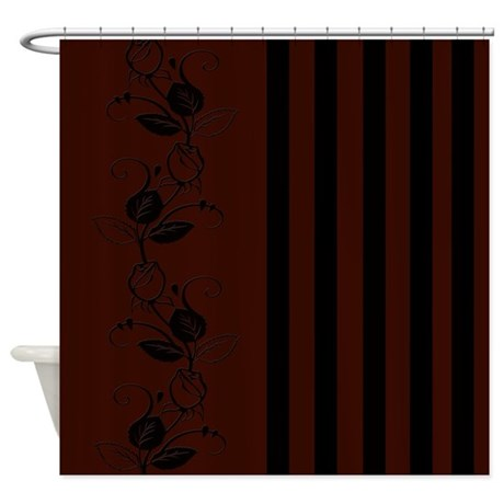 Brown And Black Flowers Stripes Shower Curtain By Cheriverymery