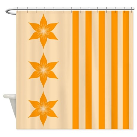 Peach Flowers And Stripes Shower Curtain By Cheriverymery
