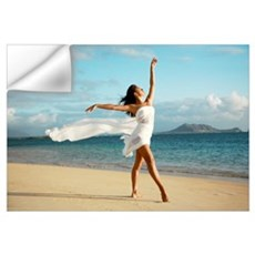 Hawaii, Oahu, Lanikai Beach, Ballet Dancer On Beac Wall Decal