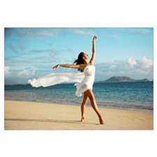 Hawaii, Oahu, Lanikai Beach, Ballet Dancer On Beac