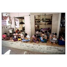 Group of women working in a workshop, Bagan, Manda Poster