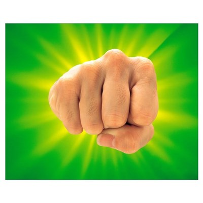 Hand Making Fist on Bright Green Background Canvas Art