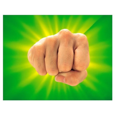 Hand Making Fist on Bright Green Background Poster
