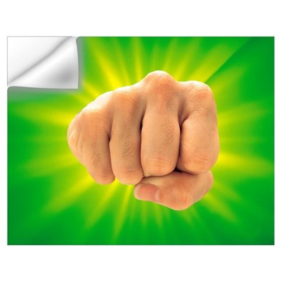 Hand Making Fist on Bright Green Background Wall Decal
