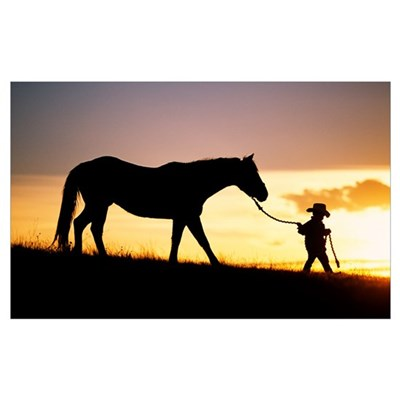 Hawaii, Silhouette Of Boy Leading Horse Along Gras Canvas Art
