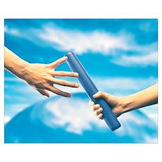 Human Hand Passing Relay Baton Poster