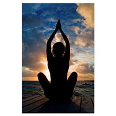 Silhouette Of Woman Doing Yoga On Oceanside Pier Poster