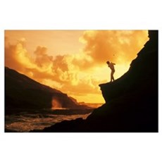 Hawaii, Golfer Standing On A Cliff And Swinging A Canvas Art