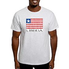 Liberia Flag Ash Grey T-Shirt