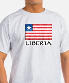 Liberia Flag Ash Grey T-Shirt