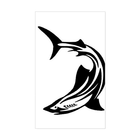 Tribal Tattoo Shark Rectangle Sticker