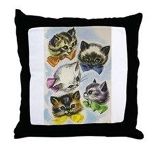 Vintage Kittens in Bow Ties Throw Pillow