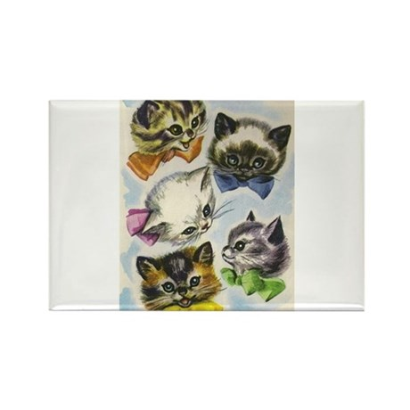 Vintage Kittens in Bow Ties Rectangle Magnet