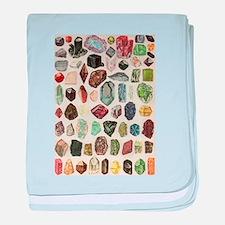 Vintage Geology Rocks Gemstones baby blanket
