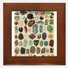 Vintage Geology Rocks Gemstones Framed Tile