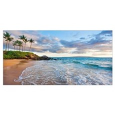 Hawaii, Maui, Makena, Secret Beach At Sunset Canvas Art
