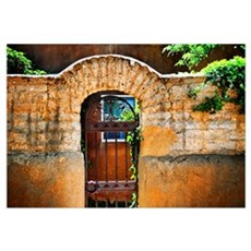 Old Stone Doorway And Garden, New Mexico Framed Print
