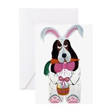 Basset Hound Easter Bunny Greeting Card