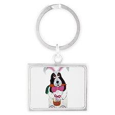 Basset Hound Easter Bunny Keychains