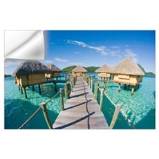 French Polynesia, Pearl Resort, Bungalows Over Bea Wall Decal