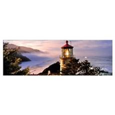 Lighthouse at a coast, Heceta Head Lighthouse, Hec Framed Print