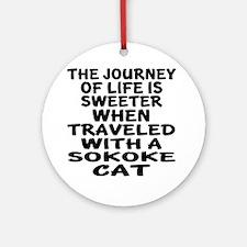 Traveled With sokoke Cat Round Ornament