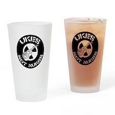 Ukes Not Nukes Drinking Glass
