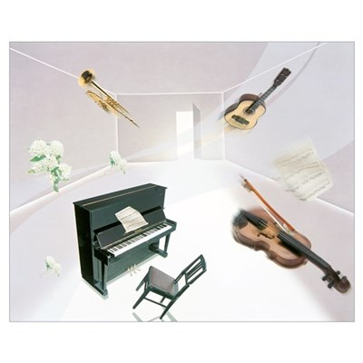 Musical Instruments and Flowers Floating In Room Poster