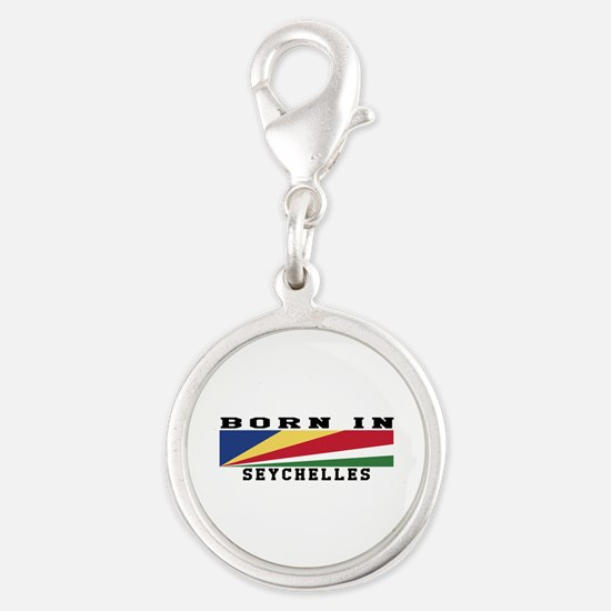 Born In Seychelles Silver Round Charm