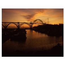 Arch bridge across a bay, Yaquina Bay Bridge, Yaqu Poster