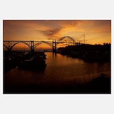 Arch bridge across a bay, Yaquina Bay Bridge, Yaqu