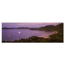 Boats in an ocean, Playa Hermosa, Costa Rica Poster